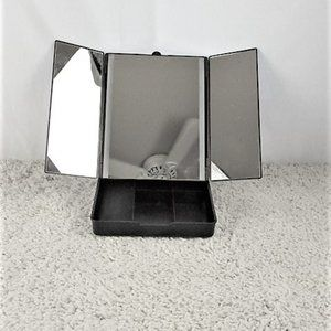 LED Tri Fold Travel Mirror and Makeup Holder